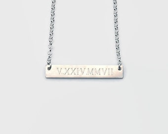 Engraved bar necklace, personalized, sterling silver name plate, roman numeral necklace, wedding date, customized, initial jewelry - Theresa