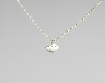 Silver bird necklace, sterling silver pendant, new baby, gift for mom, grandmother gift, twitter, robin, dainty charm, simple jewelry, Norah