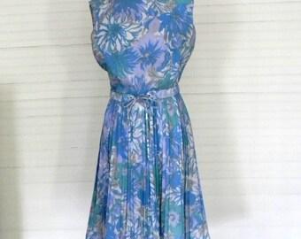 Vintage Dress, Blue Floral Print Dress, 1960s Sleeveless Dress, Easter Dress, Blue Floral Print Spring Dress, Size Large Vintage Dress 12-14