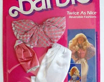 80s Mattel Barbie Twice As Nice Reversible Fashions 2298 NOS / Sparkly Halter, Long Skirt, Heel Mules, Peplum Skirt or Capelet