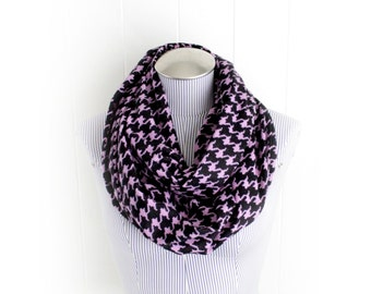 Purple and Black Houndstooth Flannel Infinity Scarf, Pixelated Pattern Winter Accessory