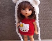 Bear set hat and dress for Pukifee Lati Yellow Mui chan Enyo Person Secretdoll Middie Blythe