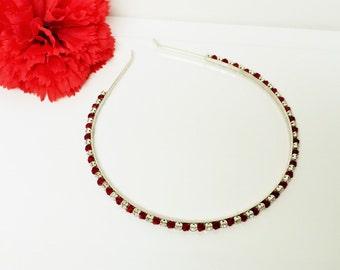 Red Rhinestone Bridal Headband with Swarovski Crystals for Bride, Bridesmaid, Prom, Flower Girl or Wedding Party