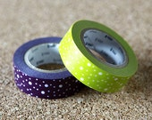 Traditional Hail Dots, Japanese Washi Paper Masking Tape, 2 Rolls Set, mt Deco, Purple & Yellow, Adhesive Tape, Card Decoration, Planner