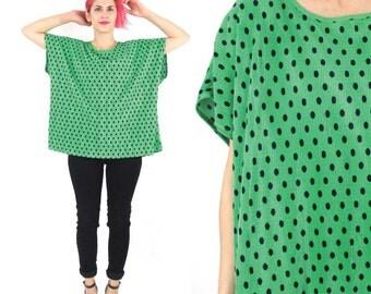 Vintage Polka Dot Blouse Pleated Green Slouchy Top Short Sleeve Shirt Bright Kelly Green Navy Dot Print Summer Sleeveless Plus Size Top (XL)