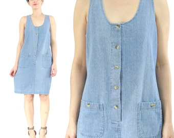 25% OFF SALE 90s Denim Mini Dress Denim Jumper Sleeveless Denim Dress Grunge Button Down Dress Blue Jean Patch Pockets Chambray Dress (M)