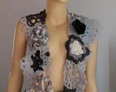 SALE 30% Off White Grey Black Freeform Knitting Crochet  Scarf - Neck Warmer - Infinity Scarf - Wearable Art / OOAK /  Bohemian Scarf
