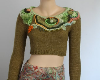 Boho Chic Chunky  Freeform Crochet Hand Knitted Crop Sweater  Top  Khaki cropped sweater  Long Sleeves - Wearable Art -Size S M