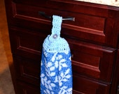 crochet top kitchen towel -  Blue w/White