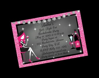 Girls Night Out Invitation, Bachelorette Party Bridal Shower Invitation, Printable Invite