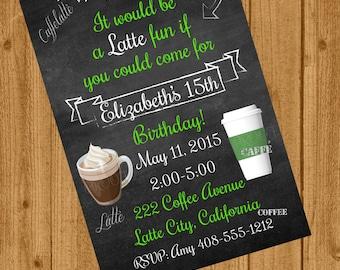Starbucks Inspired Birthday Invitation, Teenager Birthday Invitation, Frappe Latte Starbucks Inspired Invite, Latte Party, Would Mean Latte