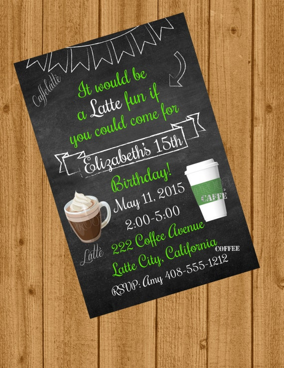 Free Birthday Starbucks ~ Starbucks inspired birthday invitation teenager frappe latte