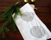 SALE. Tea Towel. Metallic Silver Snowflake Doily. Dish Towel. Screen Print. Hostess Gift. Gift Under 20.