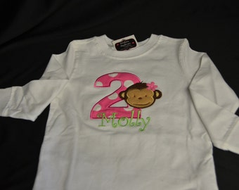 2nd Birthday long-sleeved Shirt Mod monkey Girl theme #2 with name Molly.  Size 3T.  Ready to ship. As is. Clearance Sale!!