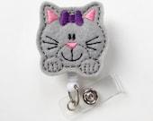 Kitty the Cat - Retractable ID Badge Reel - Name Badge Holder - Cute Badge Reel - Nurse Badge Holder - Nursing Badge Clip - Teacher Badge