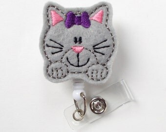 Kitty the Cat - Retractable ID Badge Reel - Name Badge Holder - Cute Badge Reel - Nurse Badge Holder - Nursing Badge Clip - Teacher Badge