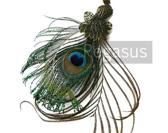 Victorian Bronze Peacock with Peacock EYE feather plume tail (D03)(1 Pieces)(7 inches) fascinators, hats, wedding decoration, wreaths