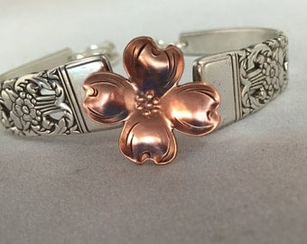 Sterling Silver Plate and Copper Flatware Bracelet w/Dogwood Flower