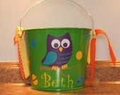 Personalized Easter or Halloween pail 5qt with Owl, polka dots, ribbons, and Easter eggs