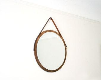 Walnut Hanging Mirror. Vintage Belt Mirror. Midcentury Home Decor. Modern Round Mirror.