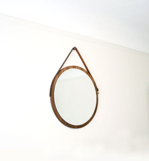 24 walnut hanging mirror vintage belt mirror for Crochet fixation miroir