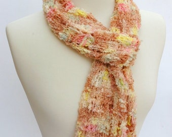 Scarf/ Hand Knit/  Viscose/Rose, Pink, Lemon Yellow/,Cream, Fawn