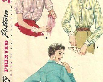 Simplicity 4813 / Vintage 50s Sewing Pattern / Blouse Shirt / Size 16 Bust 34
