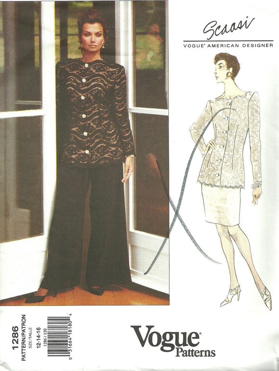 1990s Scaasi evening suit pattern Vogue 1286