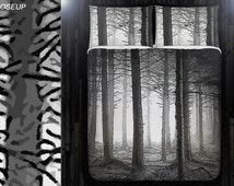Fifty Shade of Gray Forest Tree Duvet Cover Bedding Queen Size King Twin Blanket Sheet Full Double Comforter Toddler Daybed Kid Teen Dorm