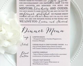 Printable Wedding Menu + Thank You - Style MTY10 - BOMBSHELL COLLECTION