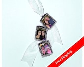 DIY - Bouquet Charms -  3 Wedding Bouquet Memorial  Silver Photo Charms - FREE SHIPPING