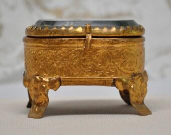 Tiny Antique French Jewelry Box Casket Brass Ormolu Repossé Souvenir of France