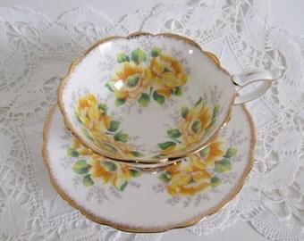 Royal Stafford Tea Cup & Saucer Yellow Peony