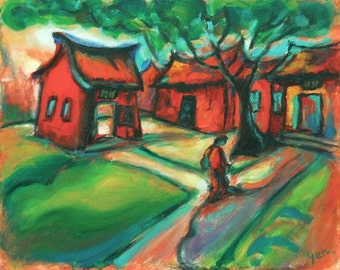 The Way -Red Temple, Chinese Landscape, Art Print, Taiwan Confucius Temple, Expressionist Painting, Chinese Architecture, Surreal Folk Art