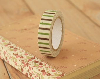 GREEN and BROWN Oblique Line striped deco fabric tape self adhesive