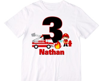 Personalized Firefighter Firetruck Birthday Shirt or Bodysuit - Personalized with ANY name and age - You choose hair and skin colors
