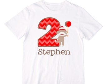 Personalized Sock Monkey Boy Birthday Shirt or Bodysuit - Personalized with ANY Name and Age!