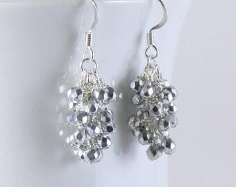 Sparkling Silver Dangle Earrings, Silver Dangling Cluster Earrings
