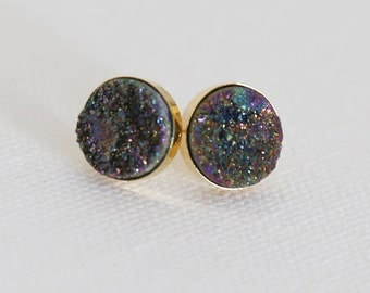 Sparkling Rainbow Colored Natural Druzy Stud Earrings - druzy quartz, gemstone studs, post, bridesmaid gift, under 40, small, glitter, jewel
