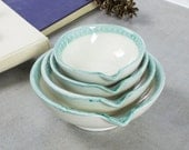 Ceramic Measuring Cups Set of 4 White Aqua green lips Nesting Prep Bowls Kitchen Hostess Gifts Home Decor Handmade Pottery