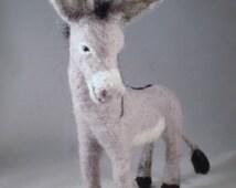 Needle Felted Donkey, Donkey Art, Needle Felted Animal, Donkey Sculpture, Felted Wool Donkey, Donkey Gift, Felted Burro, Donkey Collectible