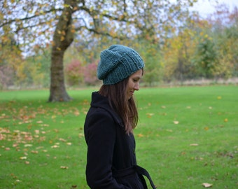 Womens Knit Hat, Slouchy Hat, Womens Winter Slouchy Hat, Womens Fashion, Fall Fashion, Slouch Beanie Hat Seaspray Green