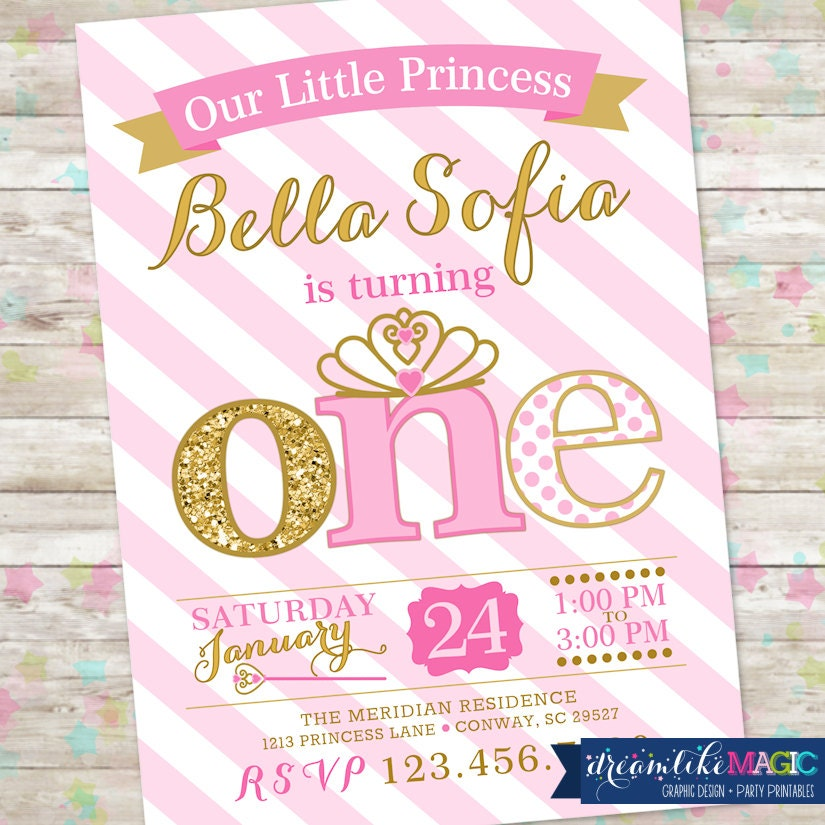 Princess Birthday Invitation 1st Birthday Party Invite Pink – 1st Birthday Princess Invitation