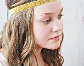 Glitter Gold Elastic Headband...Baby Headband...Girls Headband...Adult Headbands...Teen Headbands