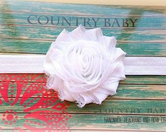 White Baby Headband, Headband, Baby Girl Headband, Shabby Chic Flower Headband...White Headband...White shabby rose headband