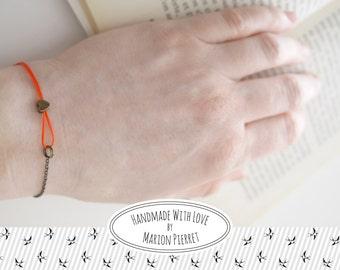 Heart Bracelet - Neon Orange