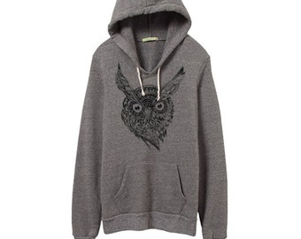 NEW! Mens Wise Owl Hoodie - Grey Eco Fleece - Pullover Hoodie - Small, Medium, Large, Extra Large
