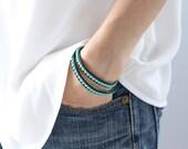 Turquoise Double Wrap Black Leather Bracelet