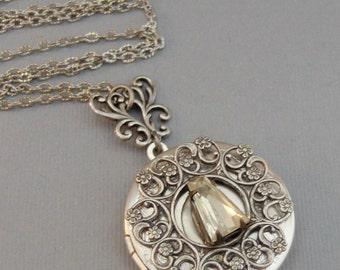 Fairy Queen,Locket,Antique Locket,Silver Locket,Diamond,Vintage,Rhinestone,Birthstone.Diamond Locket,Diamond Necklace,Vintage