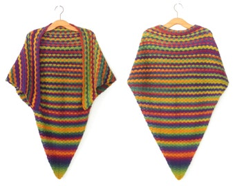 Vintage 70s Shawl * Crochet Knit Cape * 1970s Rainbow Scarf * OS